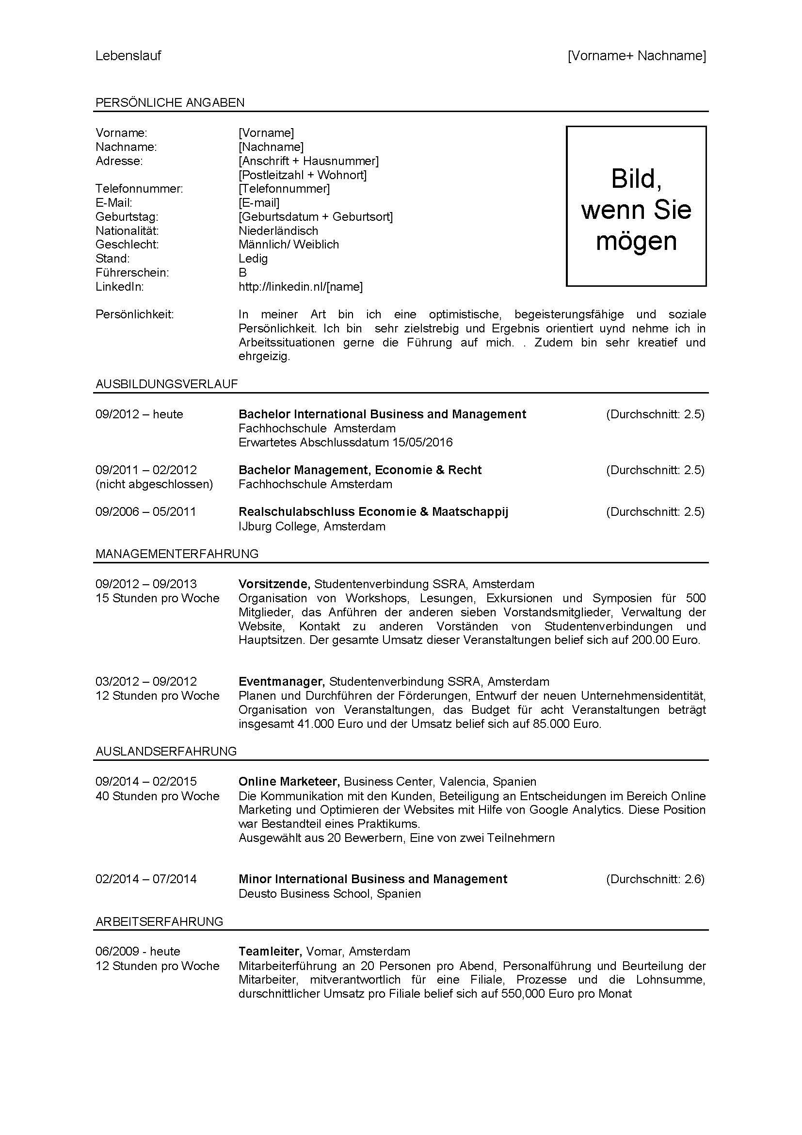 CV Duits