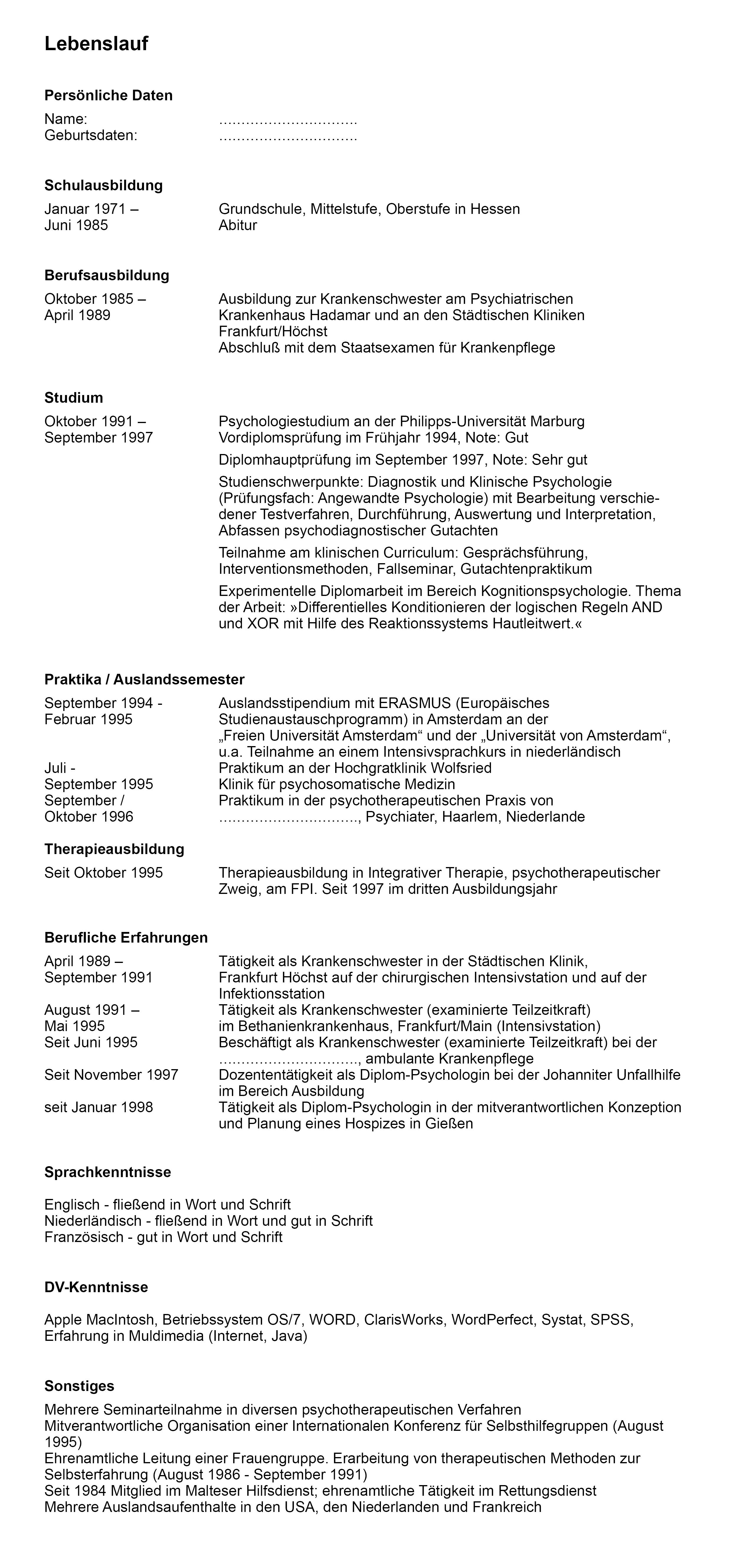 Voorbeeld cv in het Duits | Sollicitatieblog