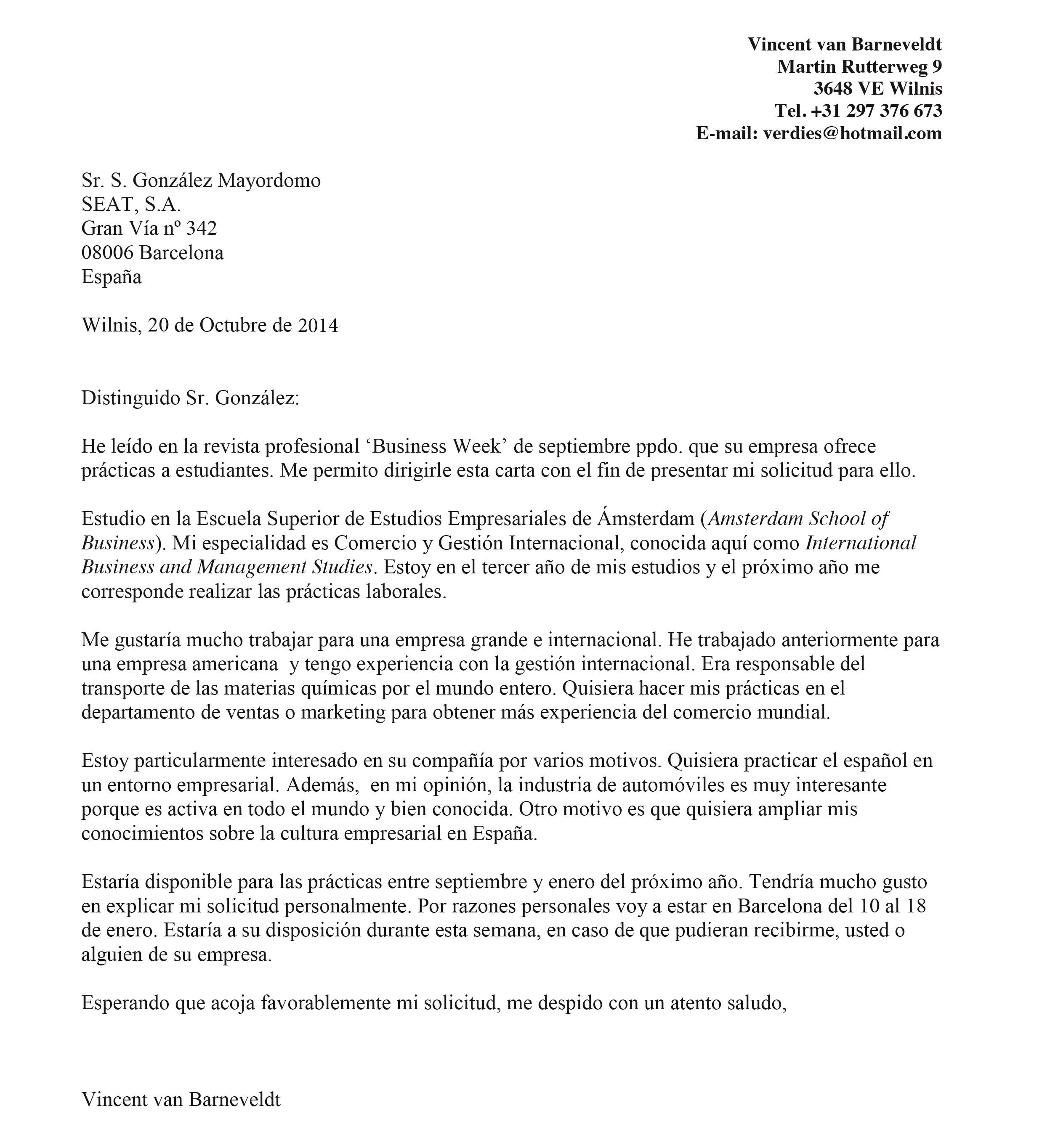 spaanse brief voorbeeld Formele Brief Spaans | gantinova