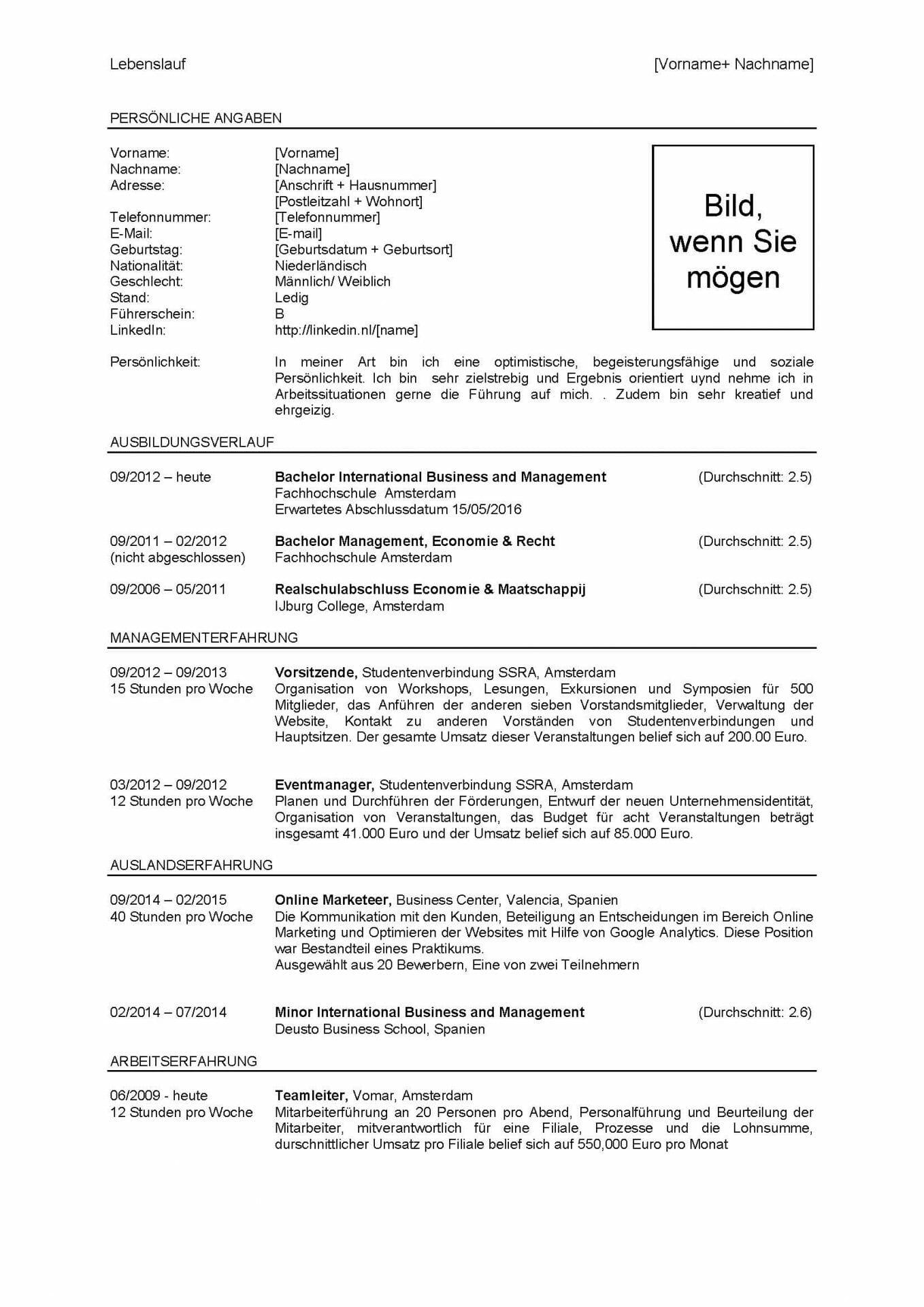 Voorbeeld Curriculum Vitae Duits Sollicitatieblog