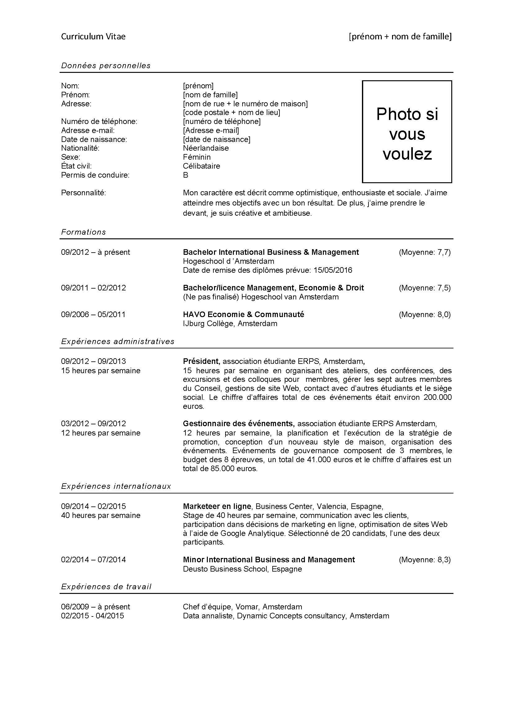 Voorbeeld Curriculum Vitae Frans Sollicitatieblog