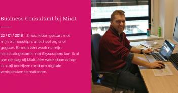 Olivier (25) werkt als Digital Workplace Business Consultant bij Mixit – Skyscrapers